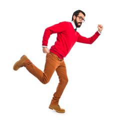 Hipster man running fast