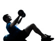 man exercising bosu weight training workout fitness posture silh