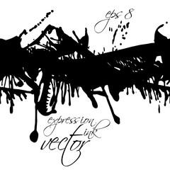 Black and white vector ink splash seamless pattern, monochrome d