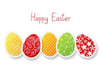 Easter paper eggs on white