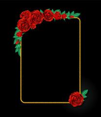 真紅の薔薇とフレーム