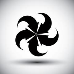 Five arrows loop conceptual icon, special abstract new idea vect
