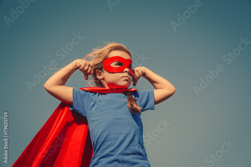 Leinwandbild Motiv Child superhero portrait