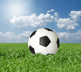 soccer ball in green grass and blue cloudly sky