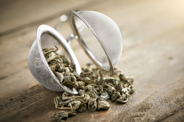 tea ball with china gun powder tea