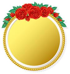 真紅の薔薇と金のフレーム