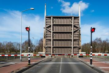 Opened drawbridge across a canal