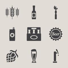 Beer vector icons set bottle, glass