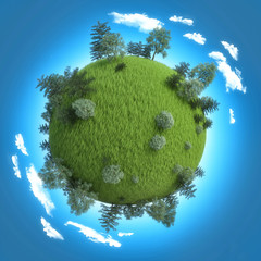 Mini planet concept. Empty space on fresh green field and trees