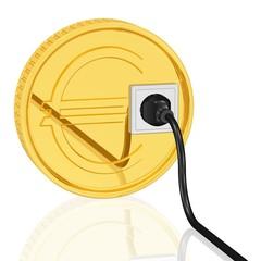 Euro mit Steckdose und Stromkabel