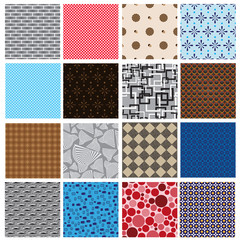 16 simple retro color seamless patterns eps10