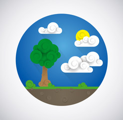 Landscape illustration.Clouds,sun, tree. Flat design icon.