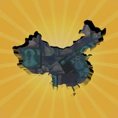 China map on Yuan sunburst illustration