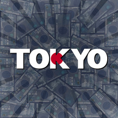 Tokyo flag text on Yen sunburst illustration