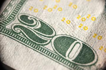 Macro image of 20 dollar bank note