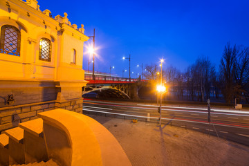 Architecture of Poniatowski bridge over Vistula river in Warsaw,