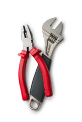 Pliers and Wrench for repair on a white background