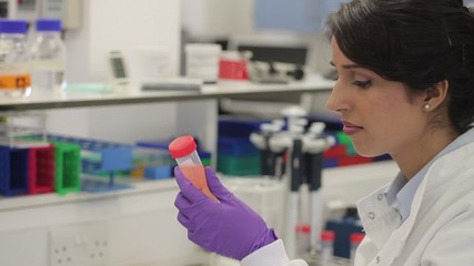 Female scientist looking at screen and tube in laboratory