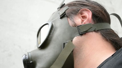 Bottom View of Gas Mask On