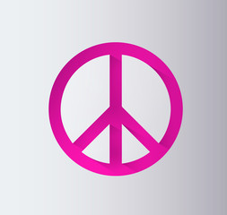 Pink peace sign with drop shadows. Peace icon