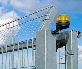 Security steel fence with alarm system