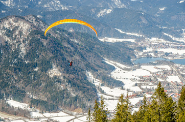 Paragliding in the alps, Tegernsee, Germany