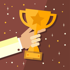 Trophy, hands holding winner cup vector illustration in flat