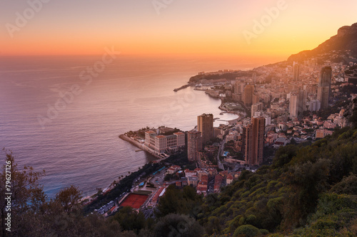 Monaco Montecarlo, Cote d'Azur, Europe, Evening view
