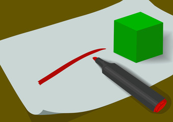 Cube and marker on the sheet of paper