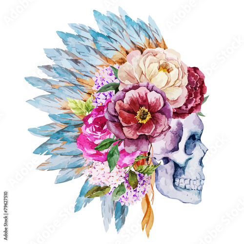 Anemones and skull - 79627510