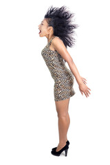 woman with flying hair on a white background