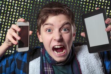 teenager gets crazy with digital media, letters salad background