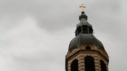 Clouds over Church Golden Cross Timelapse