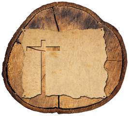 Parchment with Cross on Tree Trunk