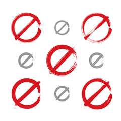 Set of hand-drawn simple vector prohibition icons, collection of