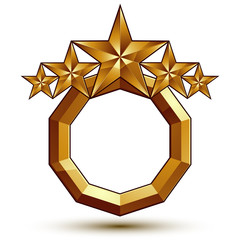 Sophisticated vector emblem with 5 golden stars, 3d decorative d