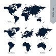 World Map and continent line vector Illustration