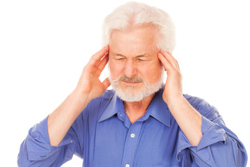 Handsome elderly man with headache