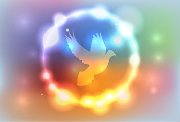 Abstract Glowing Lights Surrounding a Dove Illustration