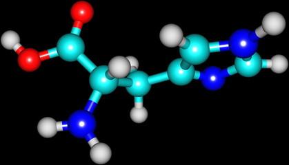 Histidine acid molecule isolated on black