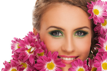 Beautiful woman with flowers in hair