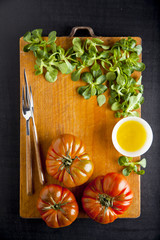 ripe vegetables. food ingredients. tomato, olive oil, salad