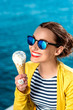 Leinwanddruck Bild - Woman with ice cream