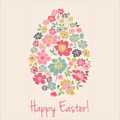 Floral card for Easter day. Happy Easter greeting card