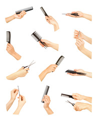 hand with professional hairdressing and manicure equipment on wh