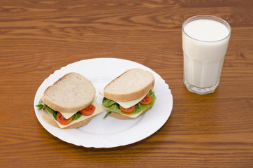 Sandwiches on the plate and milk