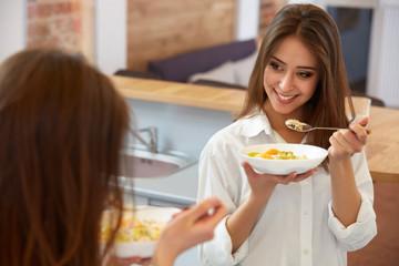 Happy Woman Having Healthy Breakfast. Healthy food