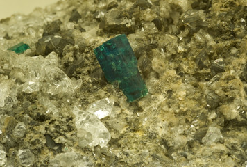 Emerald on dolomite and quartz from Muzo, Colombia.