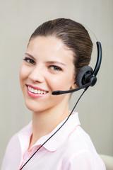 Call Center Employee With Headphones