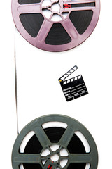 Vintage 8mm purple and grey movie reels and little clapper board